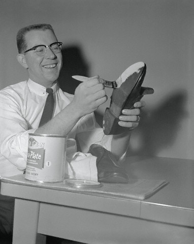 Robert Steffen Painting Sole of Shoe